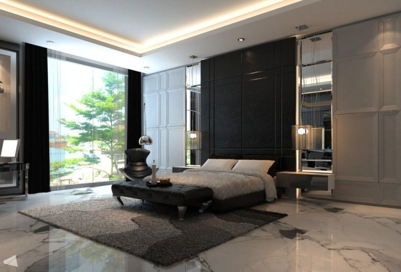 Modern Idea For A Bedroom Interior With A Marble Flooring
