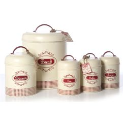 Kitchen Containers Cabinets To Go Country Decor In Reds And Creams Gingham Vintage