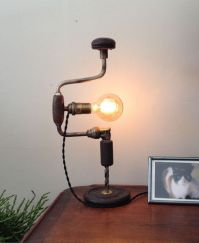 Upcycled Industrial Drill Lamp, repurposed desk table lamp ...