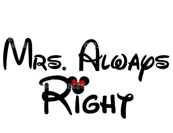 Mrs Always Right Minnie PIY DIY Iron On I Do Mickey Mouse
