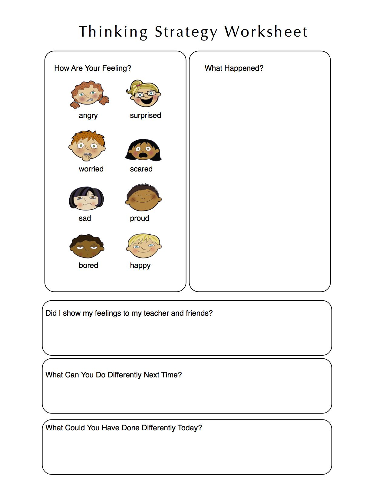Worksheet For Kids To Think Through A Problem Using El And Reflection