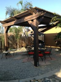 Beautiful backyard, with a pergola and slate.