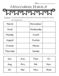 Abbreviations Matching Worksheet 2