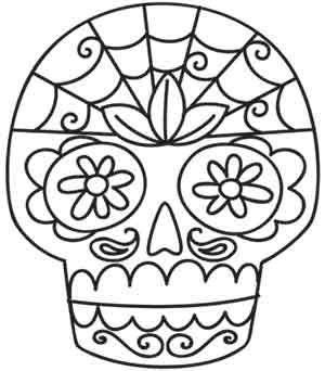 Sugar Skull embroidery pattern from UrbanThreads.com; I