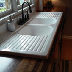 Old Kitchen Sink With Drainboard Stainless Faucet Finished Our Wooden Countertops And Installed 65 Yr