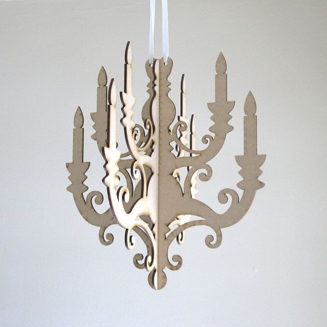 Small Wood Chandelier Laser Cut Mdf Diy By