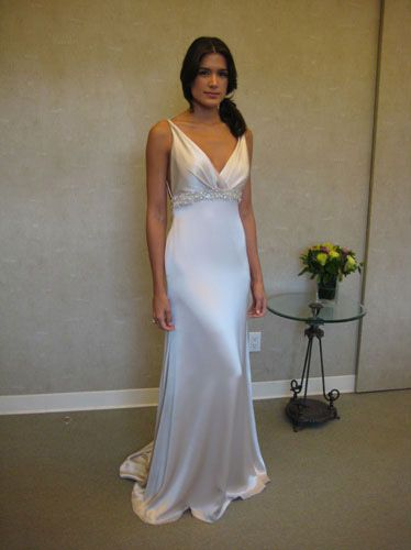 Ivory Hammered Silk Charmeuse modified Aline bridal gown sleeveless draped Vneckline empire