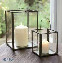 Zinc Metal Frame & Glass Box Lantern Tealight Votive
