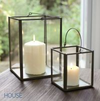 Zinc Metal Frame & Glass Box Lantern Tealight Votive ...