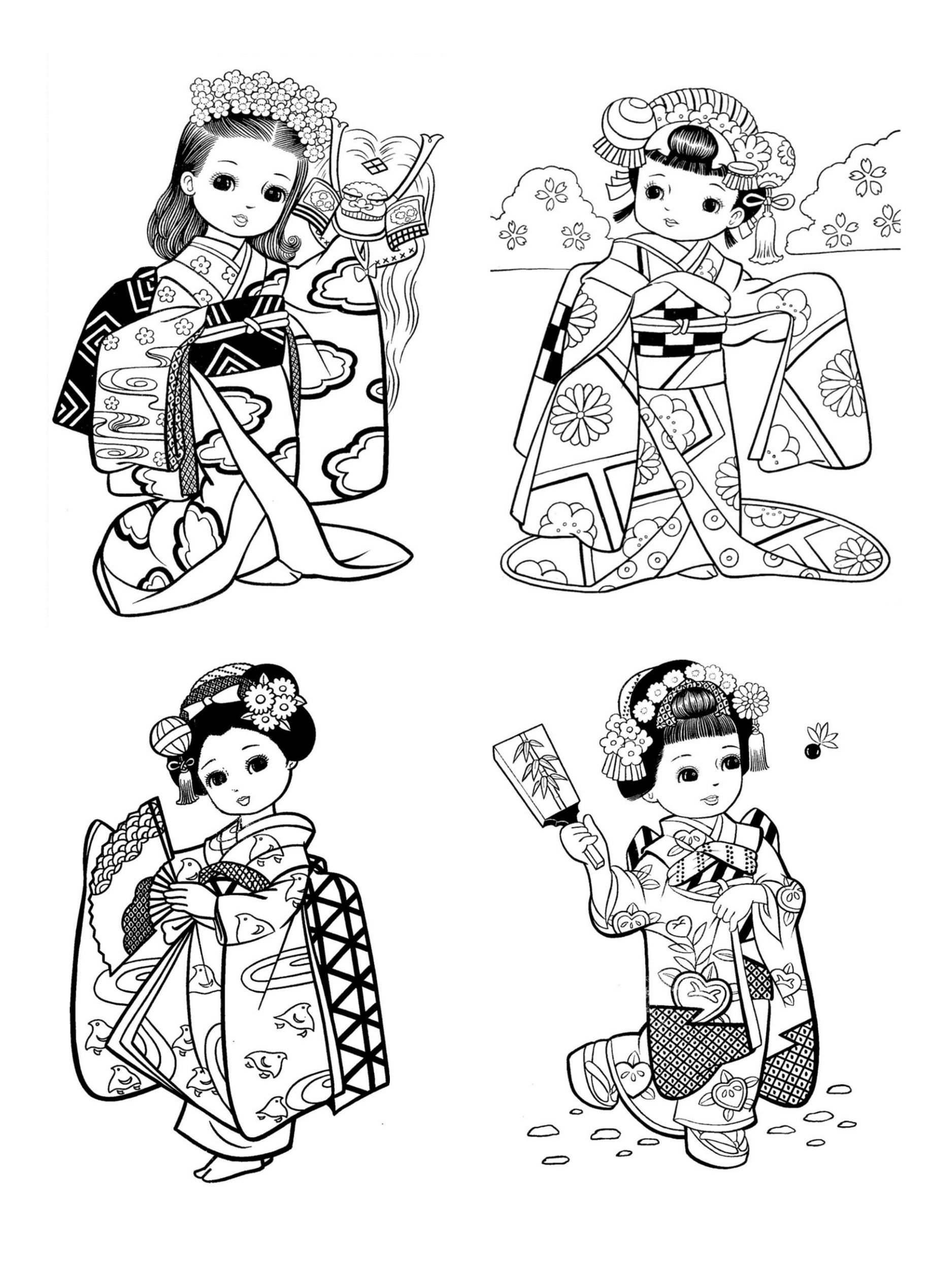 Free coloring page «coloring-little-japanese-child-style
