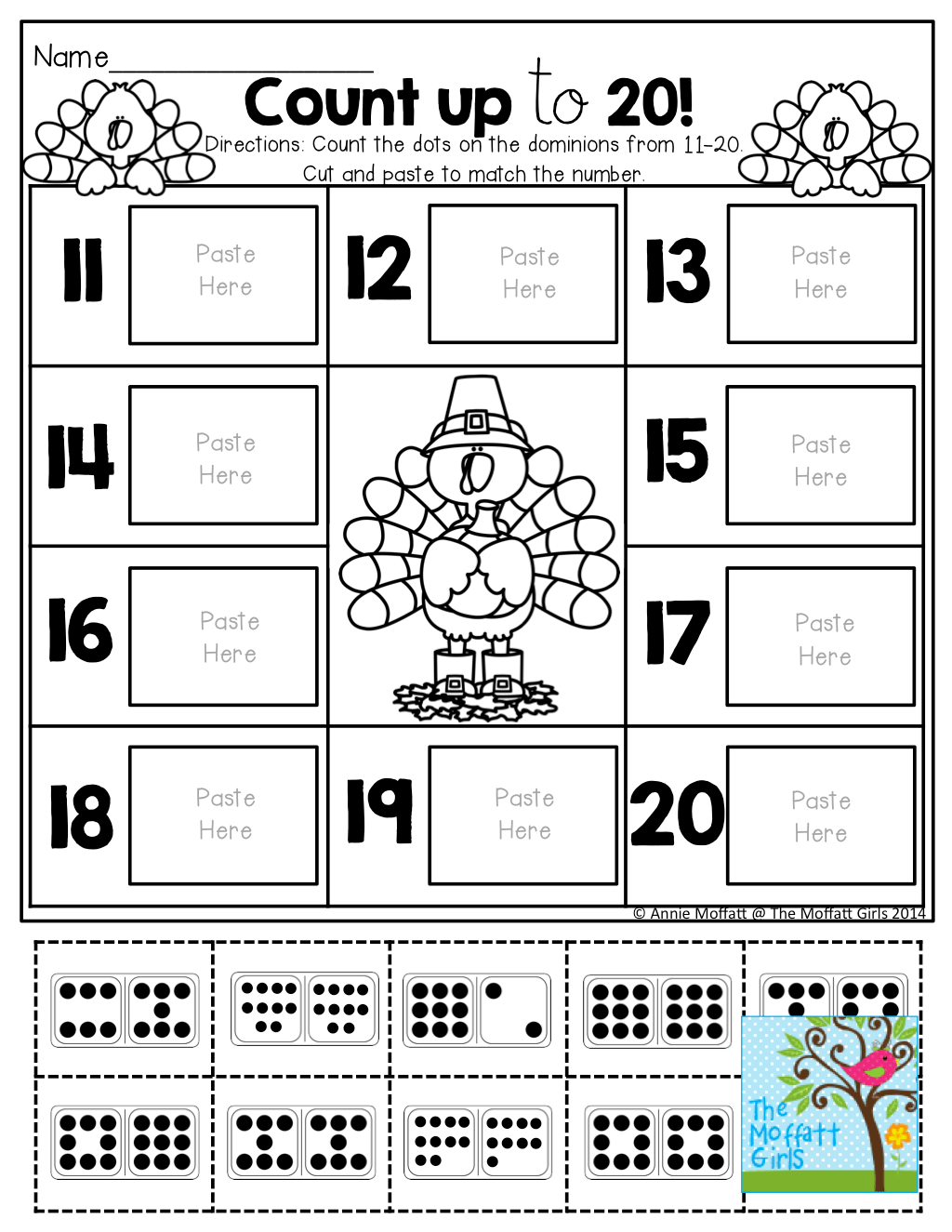 Count Up To 20 Cut And Paste The Set That Matches Each Number Tons Of Great Printables