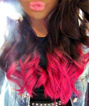 brown pink dip dye hair dyed