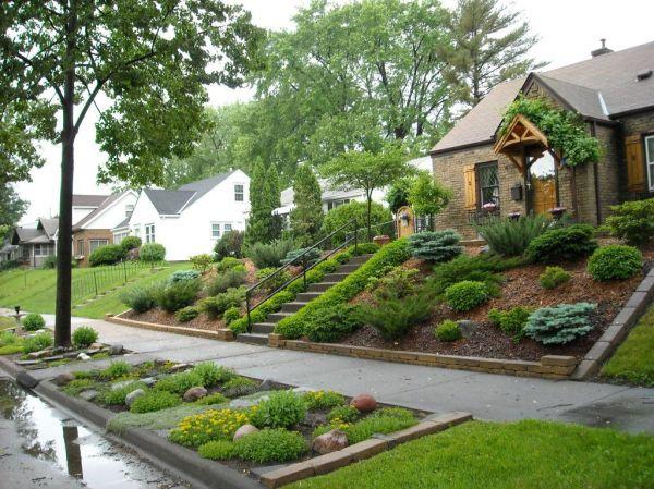 landscaping sloped front yard