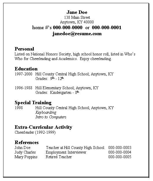 High School Student Resume Example Jobresume Website