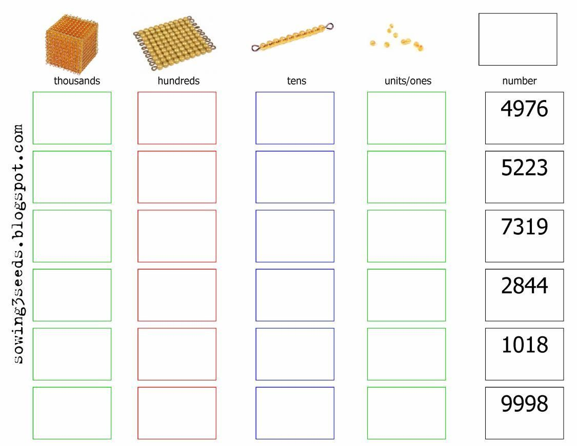 Golden Bead Place Value Worksheet