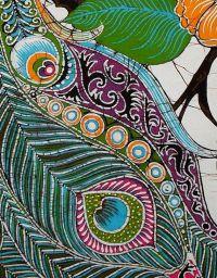 Peacock Among Flowers - Batik Wall Hanging - Tapestry ...