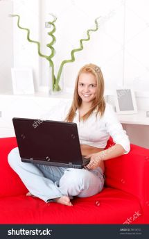 Young Woman Laptop Home