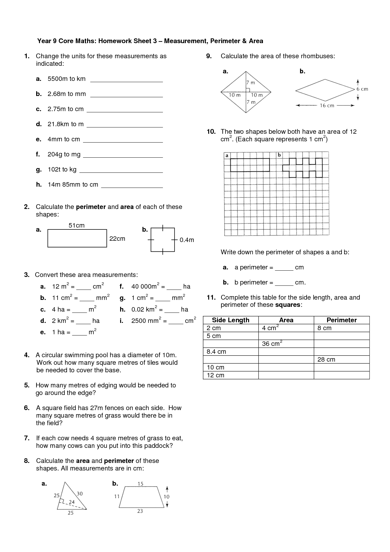 4th Grade Assignments