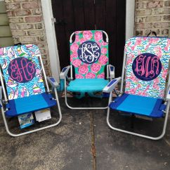Lilly Pulitzer Chair Crate And Barrel Dining Chairs Hand Painted Inspired Monogram Beach