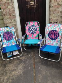 Hand painted Lilly Pulitzer inspired monogram beach chairs ...