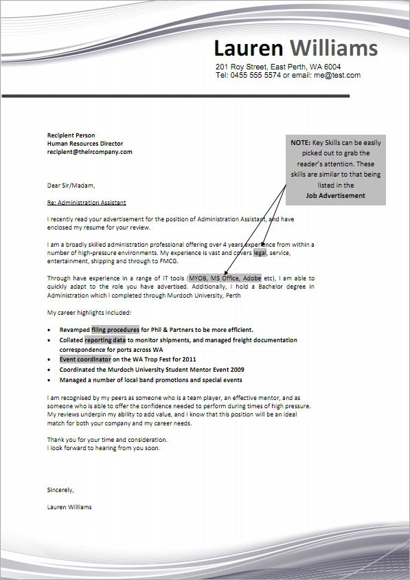 Sample Job Resume Cover Letter