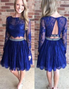 212a4196a69 Outlet distinct long sleeve prom dresses royal blue homecoming short line  sleeves open back lace also