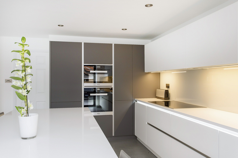 White and Grey Glass Handleless Nolte Matrix Art Kitchen  Nolte Kitchens  Pinterest  Kitchens