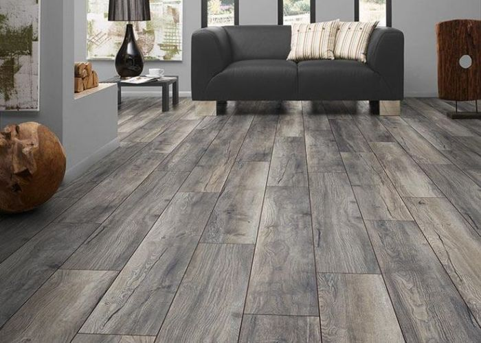 For basement bedroom bathroom and livingroom builddirect  laminate my floor villa collection harbour oak grey living room view also flooring floors pinterest concrete kitchen