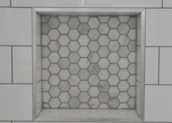 Bathroom design subway tile with dark gray grout marble hex niche   also shower and grey