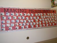 """""""Making Headlines"""" Wall of Fame with newspapers 
