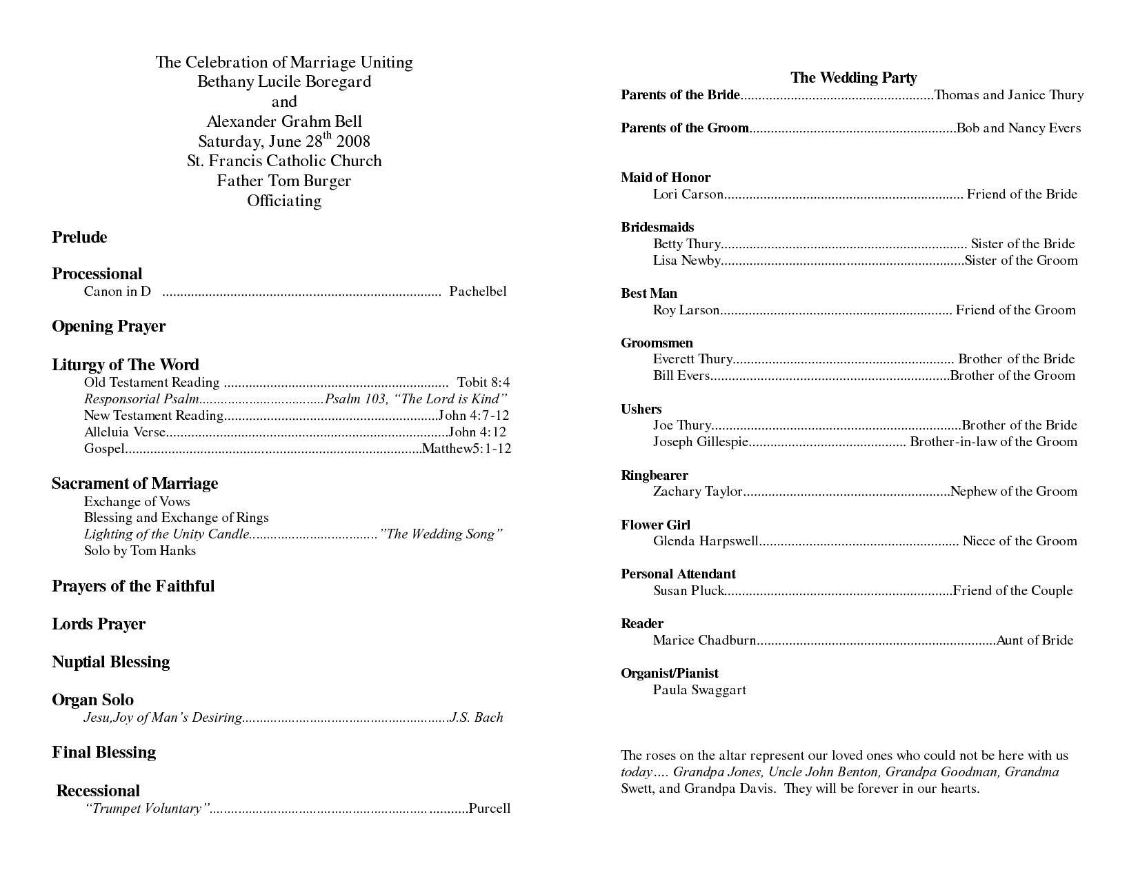 Wedding Program Sample Template Doc 8