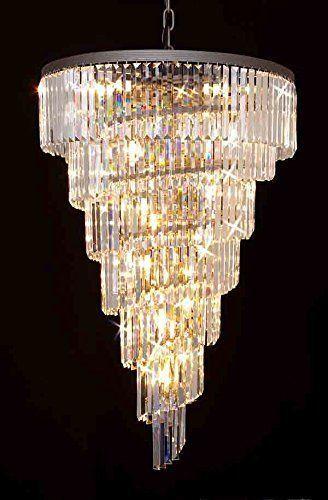 Retro Odeon Crystal Glass Fringe Helix 7 Tier Spiral Chandelier Lighting