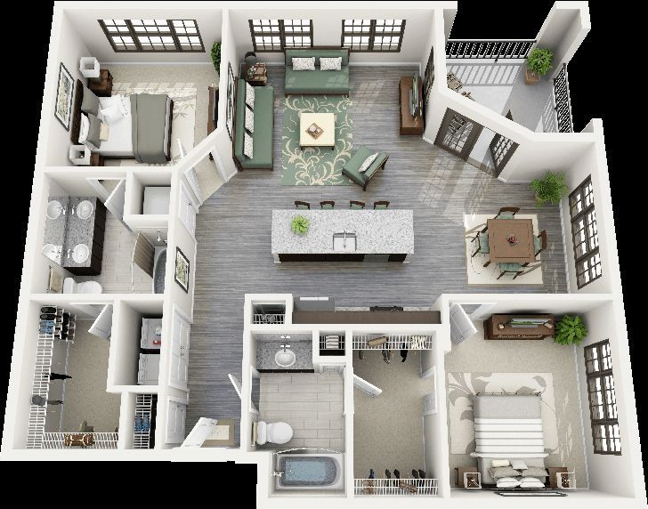 Thoughtskoto 50 3D FLOOR PLANS LAY OUT DESIGNS FOR 2 BEDROOM