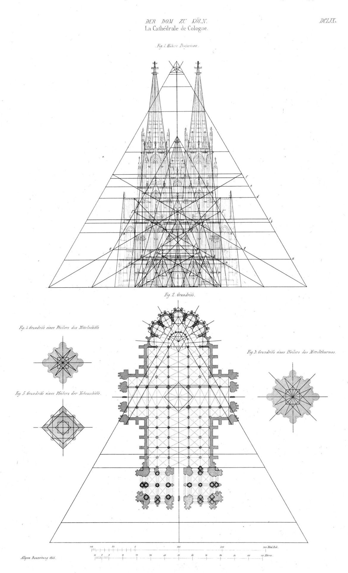 Elevation And Plan Of The Cathedral Cologne Arch Drawings
