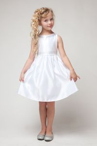 White Poly-satin Flower Girl Dress with Rhinestone Beading ...
