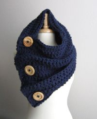 Button Scarf Cowl Hood Shawl / THE VAIL / Navy with ...