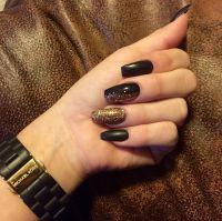 Matte black gold sparkles coffin shape nails gel acrylic ...