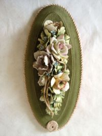 Vintage Capodimonte Fine Bisque Flowers on Velvet Wall ...