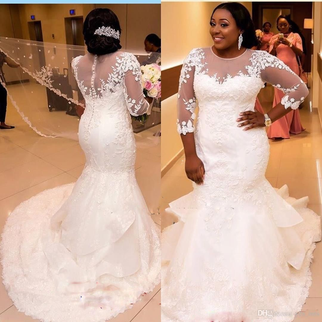 2017 African Nigerian Mermaid Wedding Dresses 2017 New Long Sleeves Lace Appliques Illusion Plus
