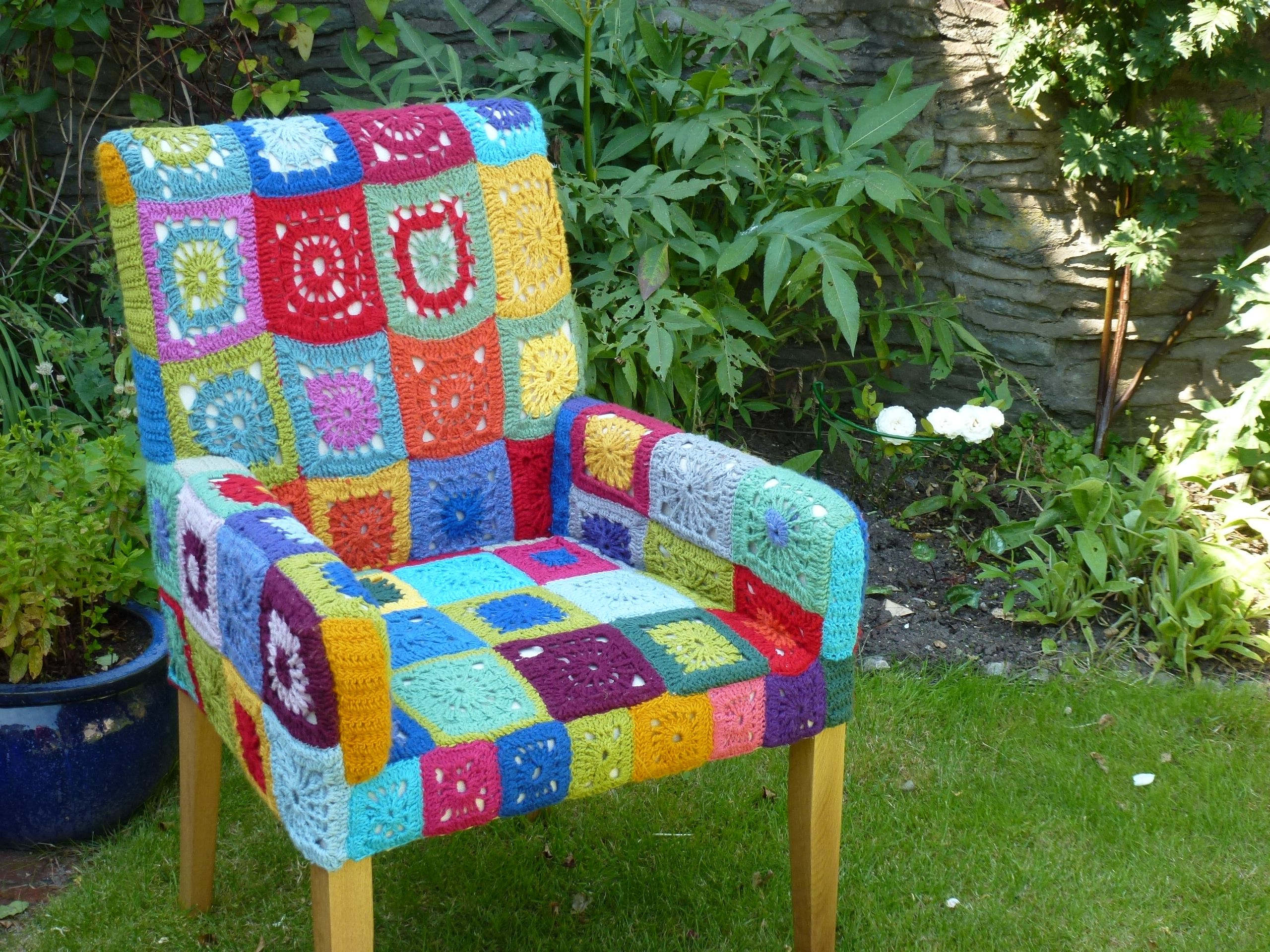 chair covers craft ideas gingham dining room my crochet art with yarn pinterest