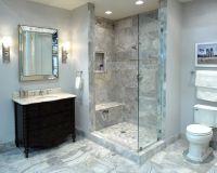 An elegant bathroom featuring Claros Silver travertine. # ...