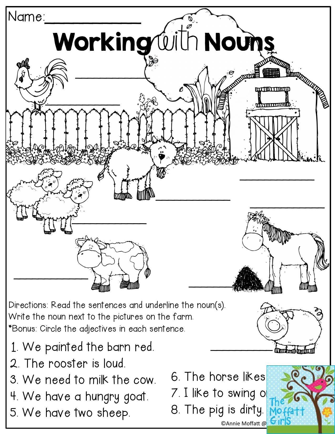 Working With Nouns On The Farm Read The Sentences And