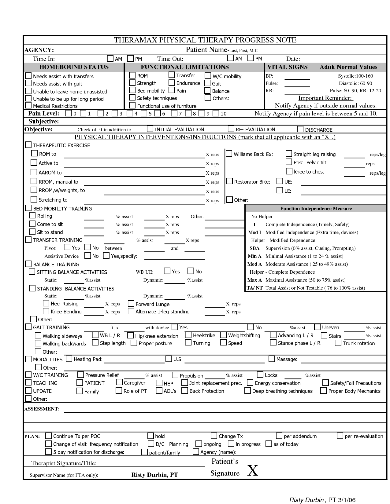 Physical Therapy Progress Note Template