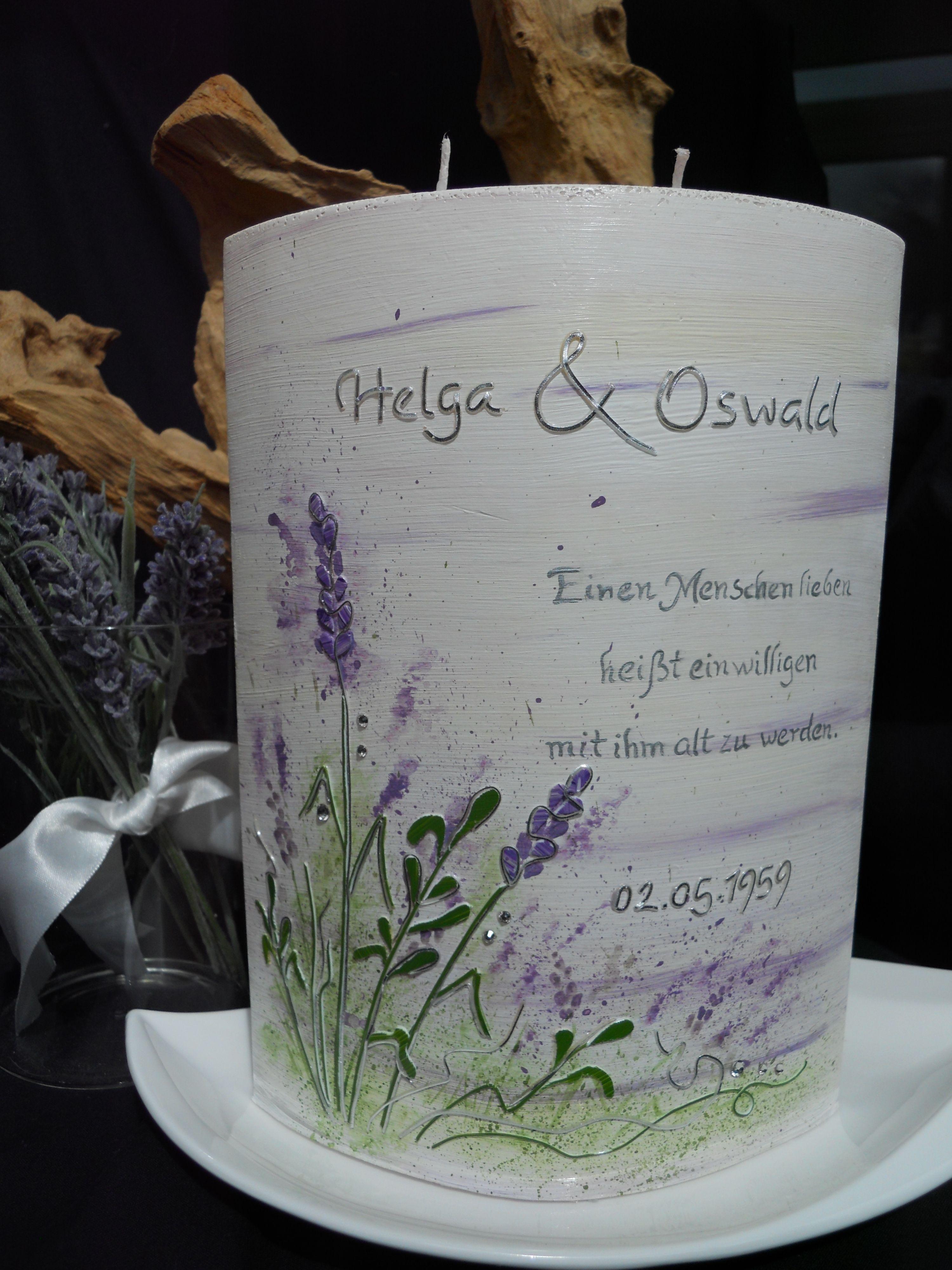 Hochzeitskerze Lavendel Hochzeit am See Natur