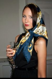 Navy border head scarf, tied classic under chin   NICE ...