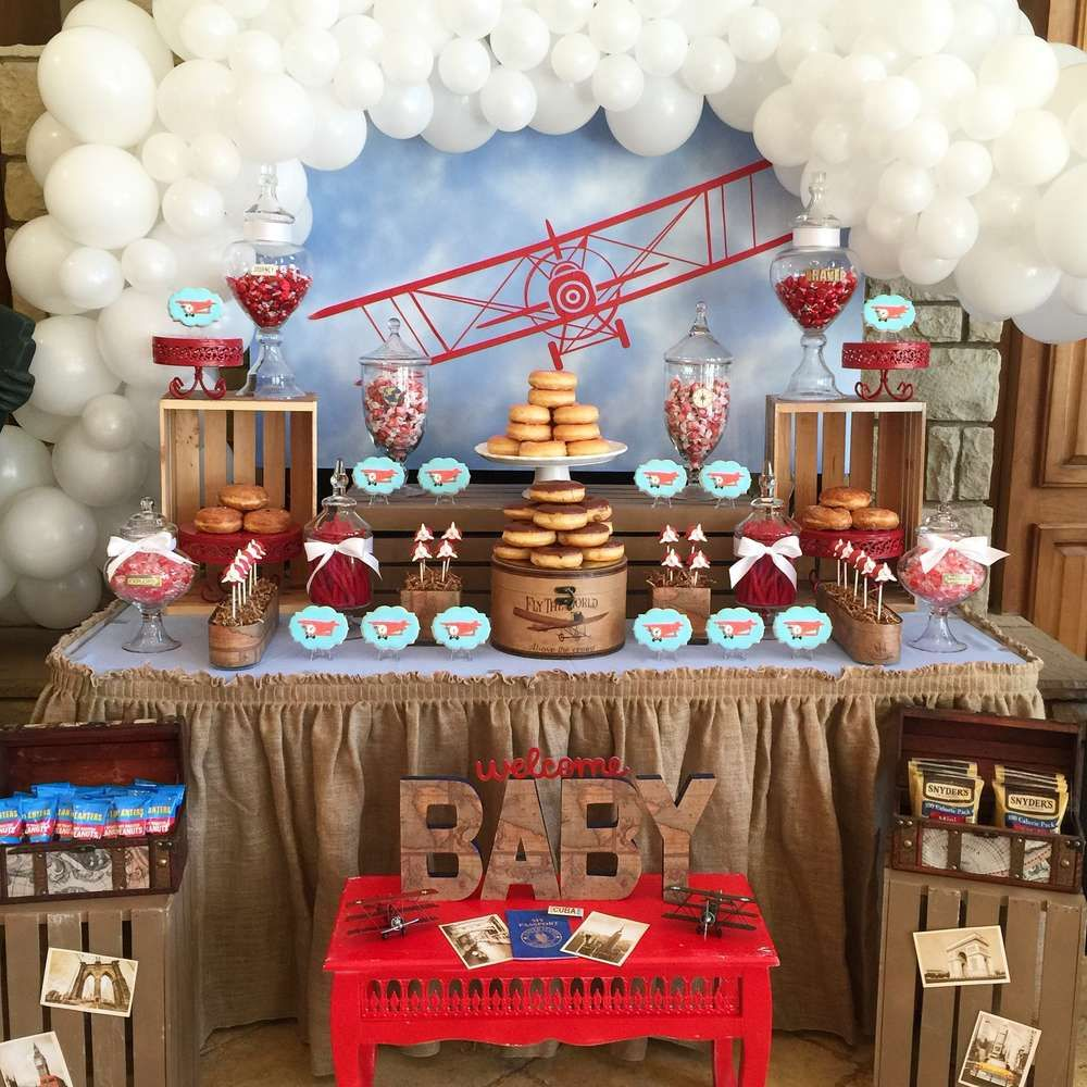 Vintage Airplane Baby Shower Party Ideas