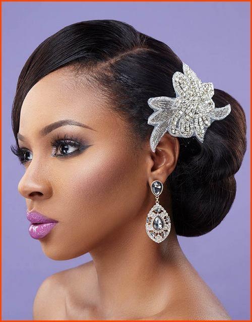 Natural Wavy Side Bun Wedding Hairstyle For Black Women My Dream