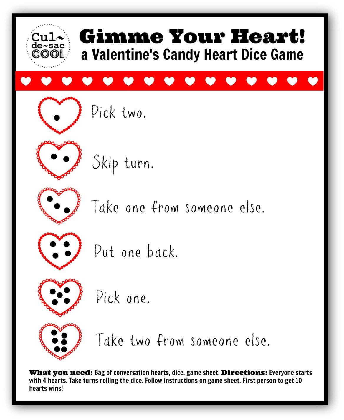 Gimme Your Heart Valentines Candy Heart Dice Game 2