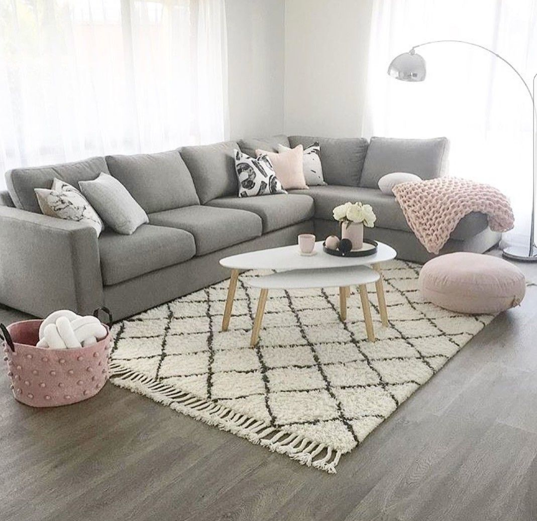 a grey and pink living room - is to me | pretty home