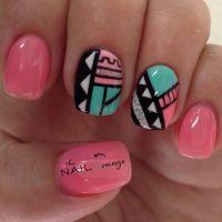Tribal geometric aztec nail art design | Nail Art ...